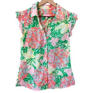 LILLY PULITZER Mariposa Floral Swiss Dot Top